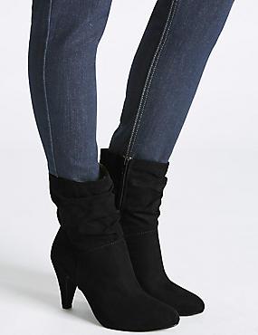 Wide Fit Side Zip Mid-calf Boots, BLACK, catlanding