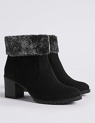 Wide Fit Block Heel Side Zip Ankle Boots, BLACK, catlanding