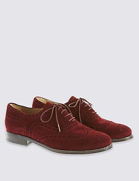 Suede Lace Up Brogue Shoes, BURGUNDY, catlanding