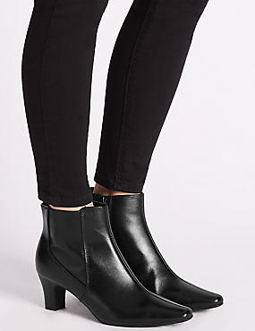 Leather Block Heel Elegant Ankle Boots , BLACK, catlanding