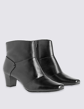 Leather Block Heel Ankle Boots, BLACK, catlanding