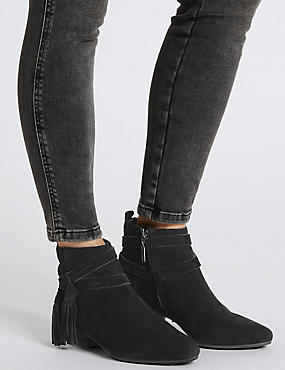 Suede Tassel Ankle Boots with Insolia Flex®, BLACK, catlanding