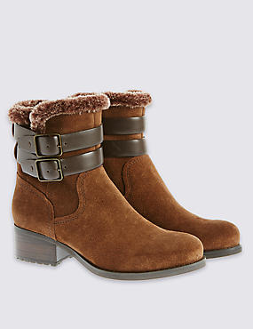Suede Ankle Boots with Insolia®, CHESTNUT, catlanding