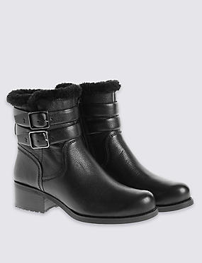 Leather Fur Biker Ankle Boots with Insolia®, BLACK, catlanding