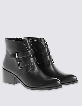Leather Two Strap Boots with Insolia®, BLACK, catlanding