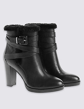 Leather High Fur Ankle Boot with Insolia®, BLACK, catlanding
