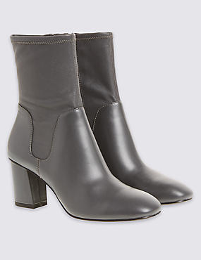 Leather Stretch Ankle Boots with Insolia®, GREY, catlanding