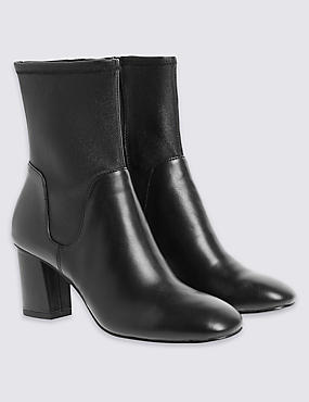 Leather Stretch Ankle Boots with Insolia®, BLACK, catlanding