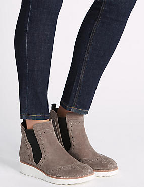 Suede Brogue Detail Ankle Boots, GREY, catlanding