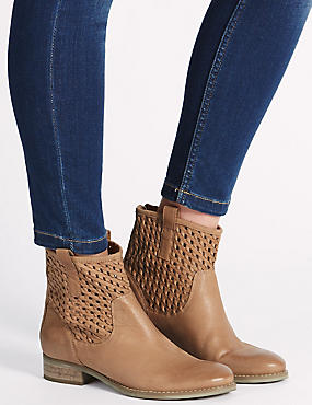 Leather Block Heel Weave Ankle Boots, NATURAL, catlanding