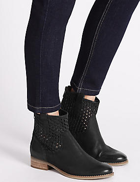 Leather Block Heel Weave Ankle Boots, BLACK, catlanding