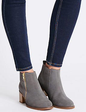 Suede Block Heel Ankle Boots with Insolia®, LIGHT GREY, catlanding