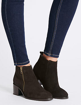 Suede Block Heel Ankle Boots with Insolia®, BLACK, catlanding