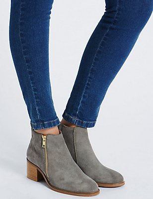 Suede Block Heel Ankle Boots with Insolia®, GREY, catlanding