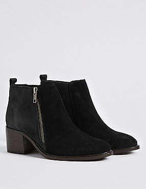 Leather Block Heel Ankle Boots, BLACK MIX, catlanding