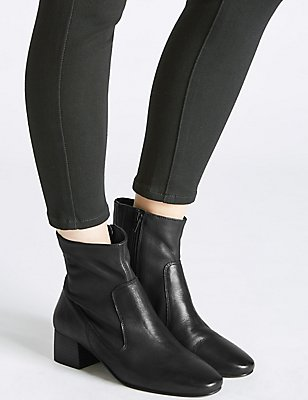 Leather Block Heel Almond Toe Ankle Boots, BLACK, catlanding