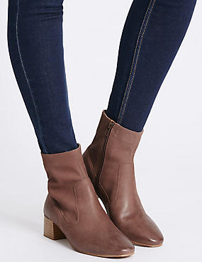Leather Block Heel Almond Toe Ankle Boots, BROWN, catlanding