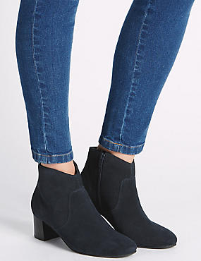 Leather Block Ankle Boots with Insolia®, NAVY, catlanding