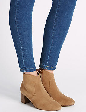 Leather Block Ankle Boots with Insolia®, TAN, catlanding
