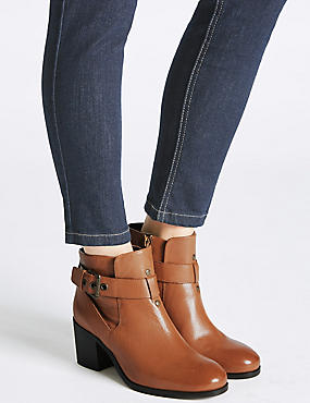 Leather Block Heel Strap Ankle Boots, TAN, catlanding