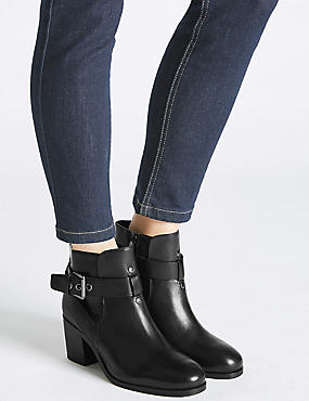 Leather Block Heel Strap Ankle Boots, BLACK, catlanding
