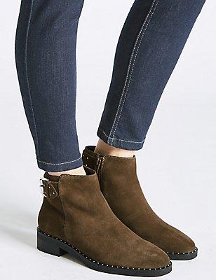 Suede Block Heel Strap Stud Ankle Boots, KHAKI, catlanding