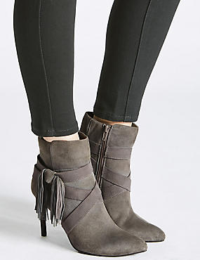 Leather Stiletto Tassel Pointed Ankle Boots, GREY, catlanding
