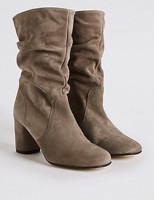 Suede Block Heel Mid-calf Boots, GREY, catlanding