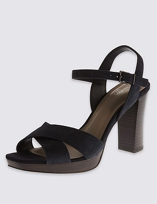 Suede Stain Away™ Platform Sandals with Insolia®, NAVY, catlanding