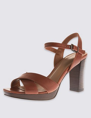 Leather Platform Sandals with Insolia®, TAN, catlanding
