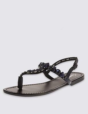 Leather Gem Embellished Sandals, BLUE, catlanding
