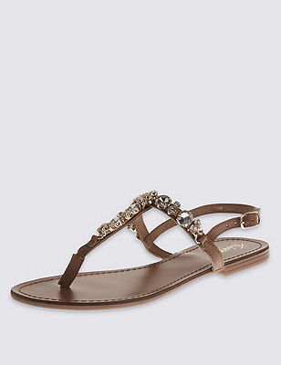 Leather Gem Embellished Sandals, TAN, catlanding