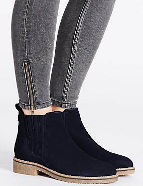 Leather Block Heel Crepe Sole Ankle Boots , NAVY, catlanding