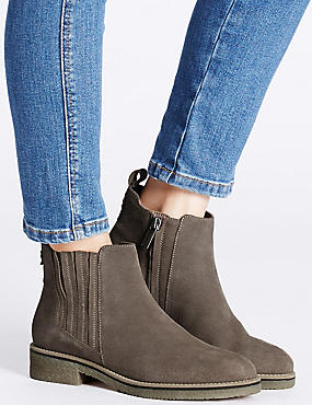Leather Block Heel Crepe Sole Ankle Boots , GREY, catlanding