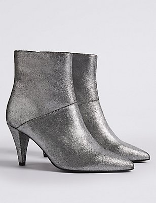 Leather Stiletto Pointed Ankle Boots, METALLIC, catlanding