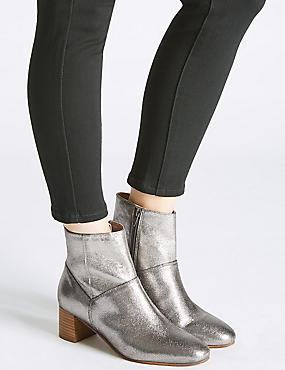 Leather Block Heel Panel Ankle Boots, SILVER, catlanding