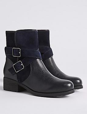 Leather Block Heel Biker Ankle Boots, NAVY, catlanding