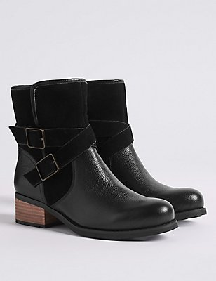 Leather Block Heel Biker Ankle Boots, BLACK, catlanding