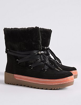 Leather Side Zip Snow Ankle Boots, BLACK MIX, catlanding