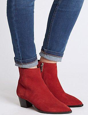 Leather Block Heel Side Zip Ankle Boots, RED, catlanding
