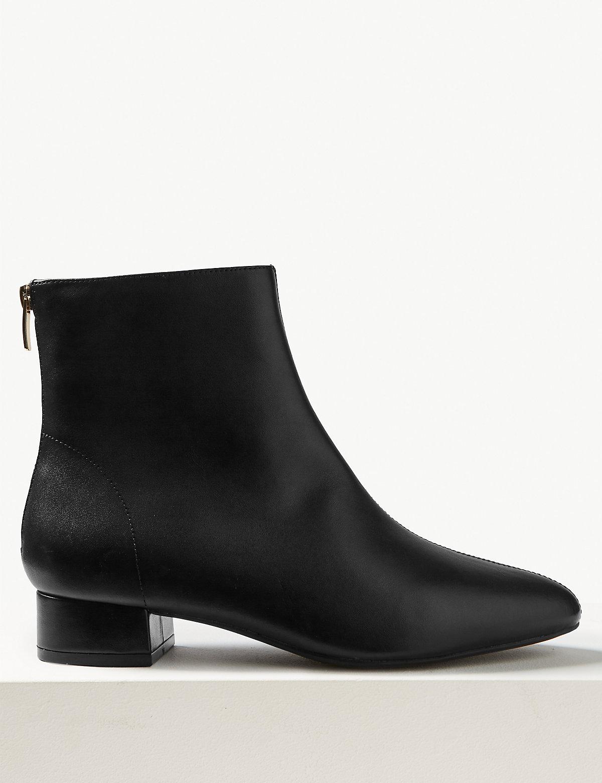 Ботинки кожаные на блочном каблуке