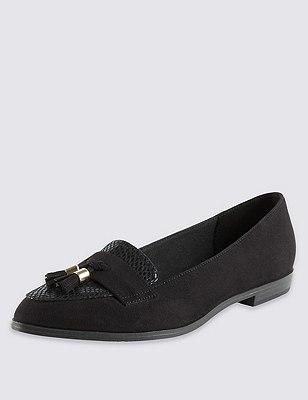 Almond Toe Tassel Loafers with Insolia Flex® , BLACK, catlanding