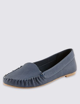 Faux Snakeskin Print Loafers with Insolia Flex®, NAVY, catlanding