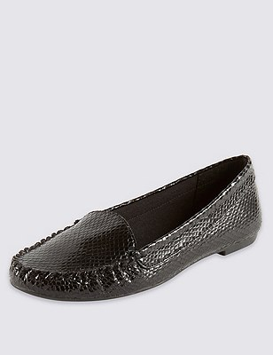 Faux Snakeskin Print Loafers with Insolia Flex®, BLACK, catlanding