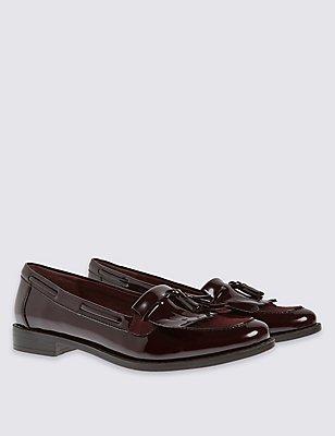 Block Heel Tassel Loafers, WINE, catlanding