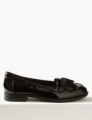 Block Heel Tassel Loafers, BLACK PATENT, catlanding