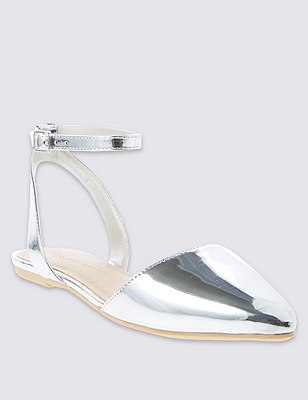 Ankle Strap Two Part Sandals with Insolia Flex®, SILVER, catlanding