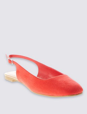 Square Toe Slingback Court Shoes with Insolia Flex®, RED, catlanding