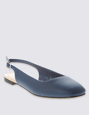 Square Toe Slingback Court Shoes with Insolia Flex®, NAVY, catlanding