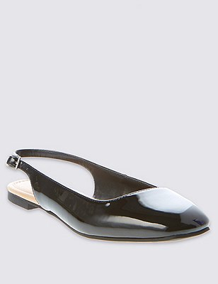 Square Toe Slingback Court Shoes with Insolia Flex®, BLACK PATENT, catlanding